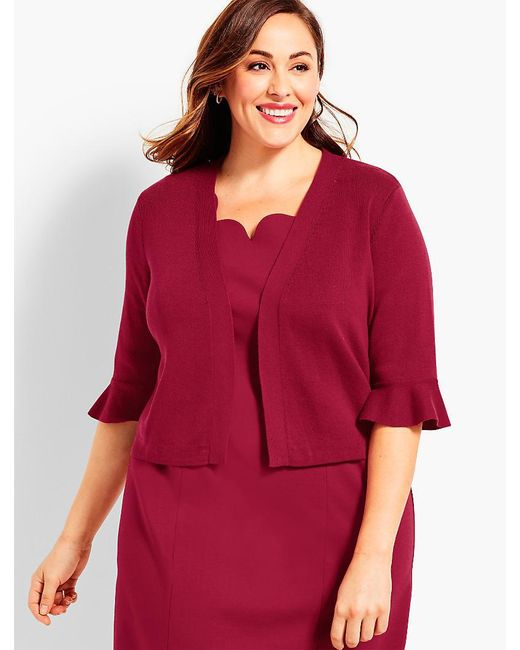 Talbots | Red Womans Exclusive Flutter-sleeve Dress Shrug | Lyst