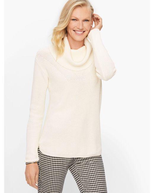Talbots White Cotton Modal Cowlneck Sweater
