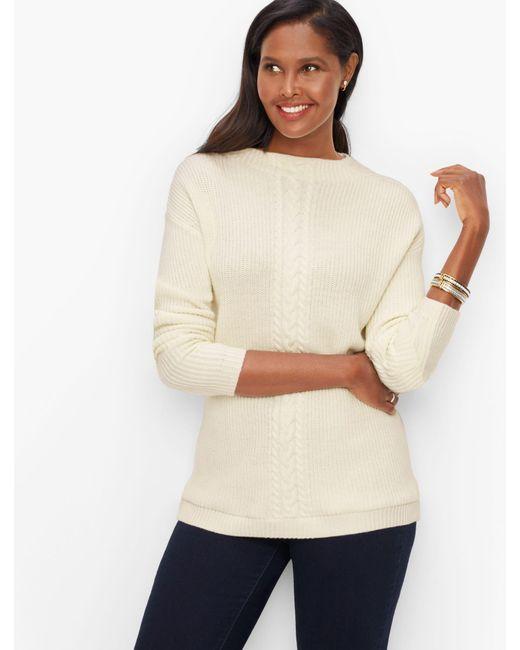 Talbots White Cableknit Mockneck Sweater