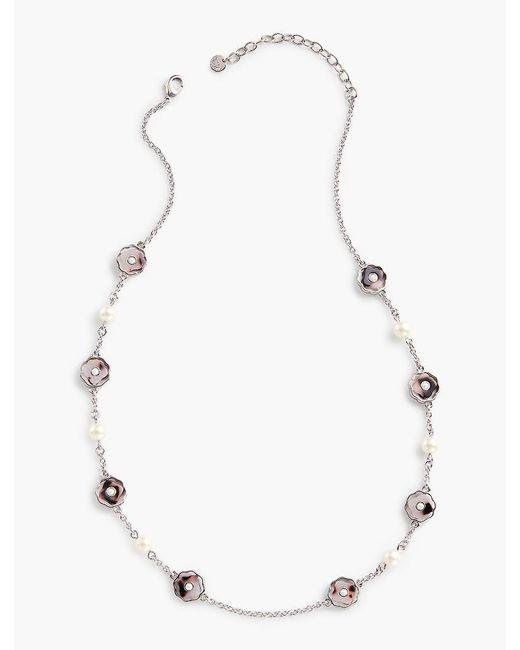 Talbots - Metallic Pearls & Flowers Necklace - Lyst