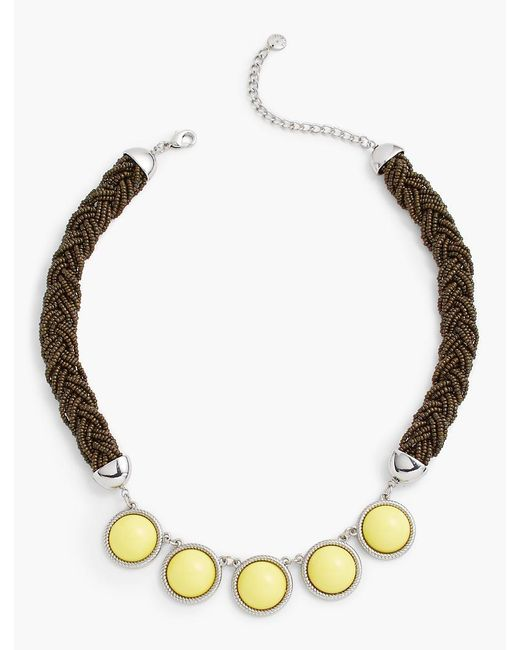 Talbots | Metallic Seed-bead Rope & Cabochon Necklace | Lyst