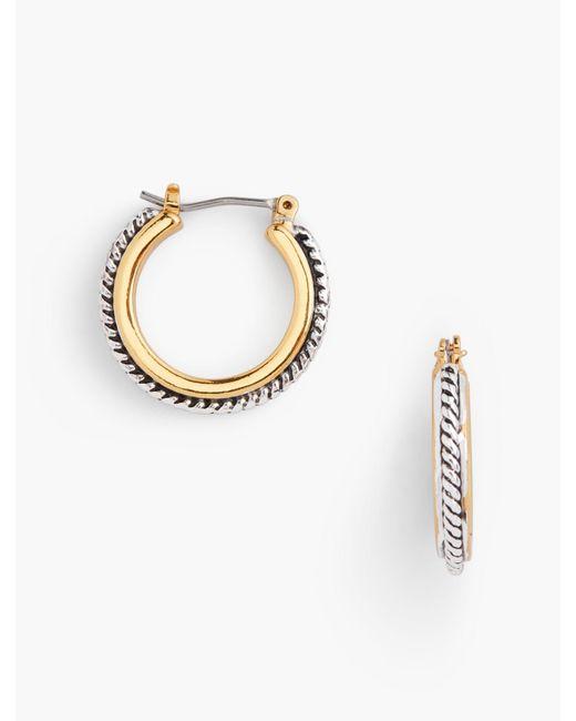 Talbots - Metallic Textured Hoop Earrings - Lyst