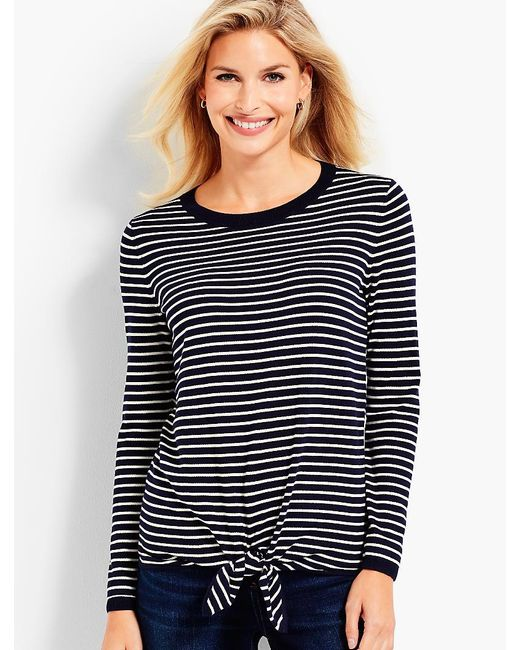 Talbots - Blue Tie-front Sweater-striped - Lyst