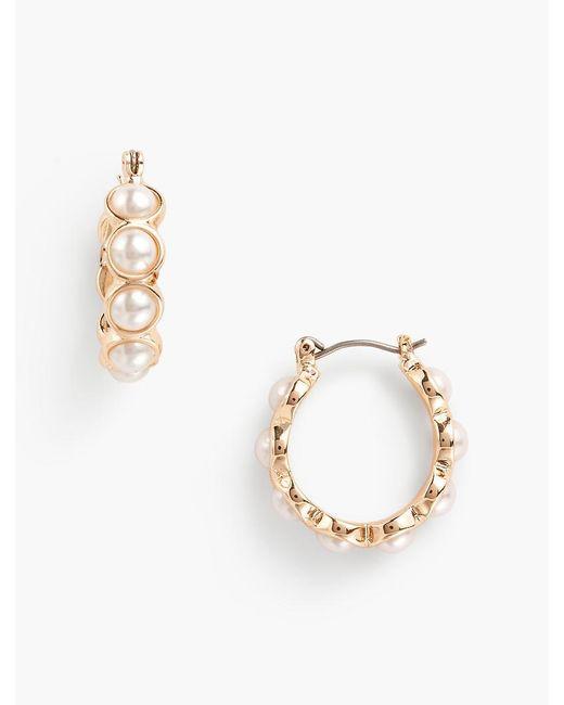 Talbots - White Pearl Hoop Earrings - Lyst