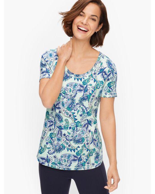 Talbots Blue Cotton Blend Jersey T-shirt