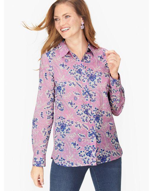 Talbots Purple Classic Cotton Shirt