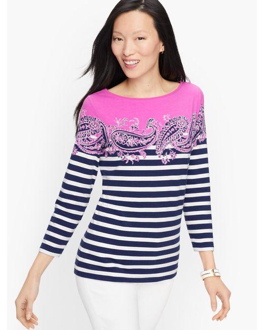 Talbots Purple Cotton Bateau Neck T-shirt