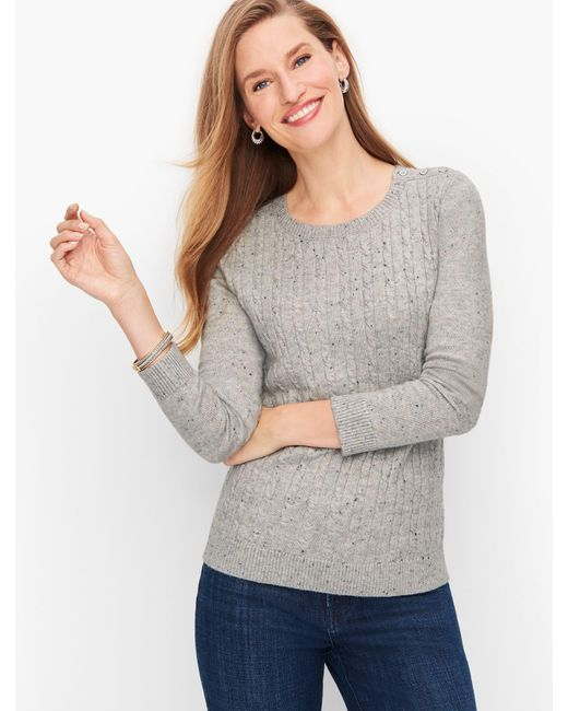 Talbots Gray Supersoft Cableknit Sweater