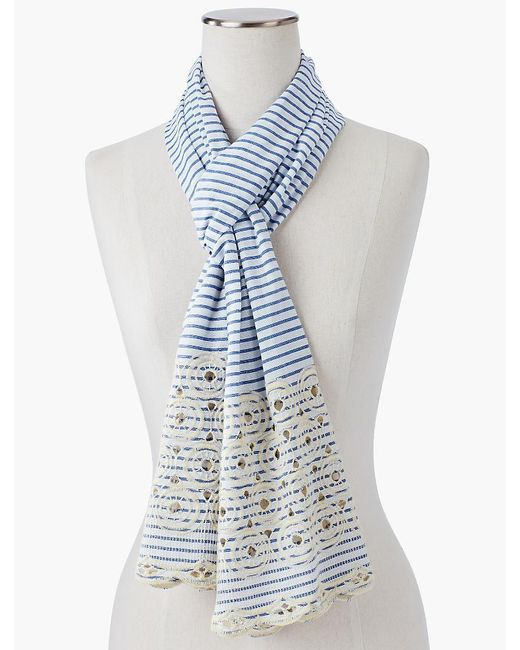 Talbots - Blue Embroidered Circle Stripe Scarf - Lyst