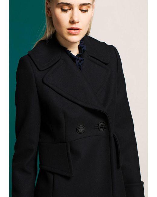 Tara jarmon Short Black Pea Coat in Black | Lyst