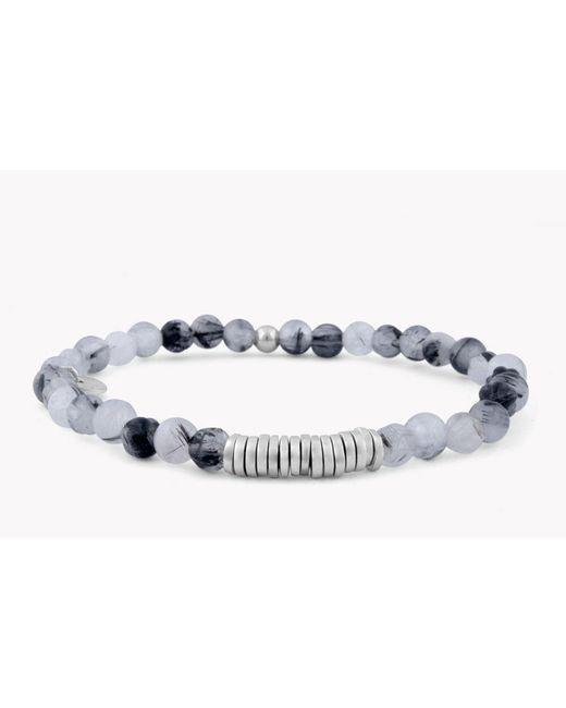 Tateossian - White Disc Round Beaded Bracelet for Men - Lyst