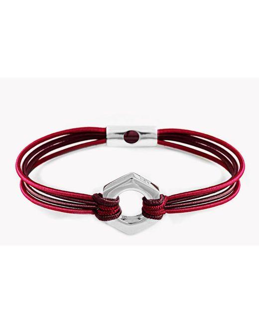 Tateossian | Red Silver Nut & Bolt Friendship Bracelet | Lyst