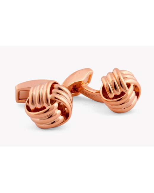 Tateossian - Multicolor Ribbed Knot Cufflinks In Rose Gold Colour for Men - Lyst