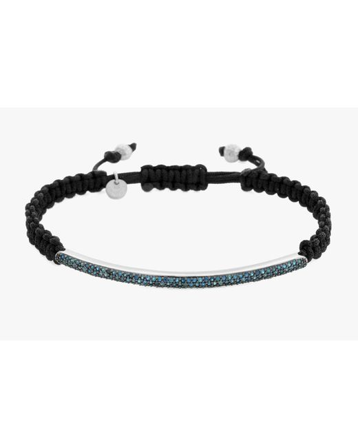 Tateossian | Blue Micro Pavé Macramé Bracelet With Diamonds for Men | Lyst