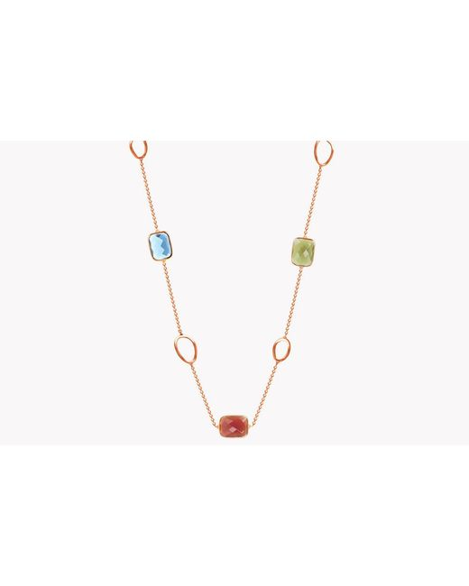 Tateossian - Metallic 14k Rose Gold Five Stones Chelsea Necklace - Lyst
