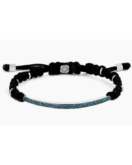 Tateossian - Black Macramé Windsor Silver Bracelet With Blue Diamonds (1.196ct) for Men - Lyst