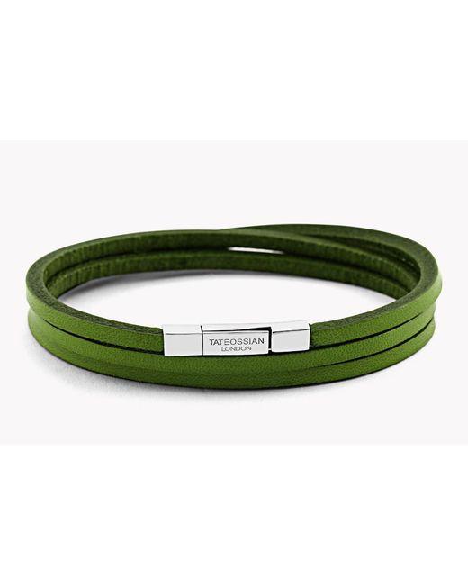 Tateossian | Green Triple Wrap Fettuccine Bracelet for Men | Lyst