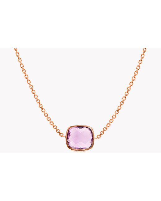 Tateossian - Multicolor 14k Rose Gold Belgravia Single Stone Necklace With Amethyst for Men - Lyst