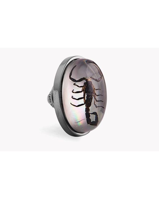 Tateossian - Metallic Scorpion Pin In Resin On White Mother Of Pearl - Lyst