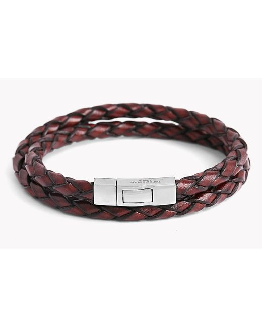 Tateossian - Brown Double Wrap Scoubidou Leather Bracelet for Men - Lyst