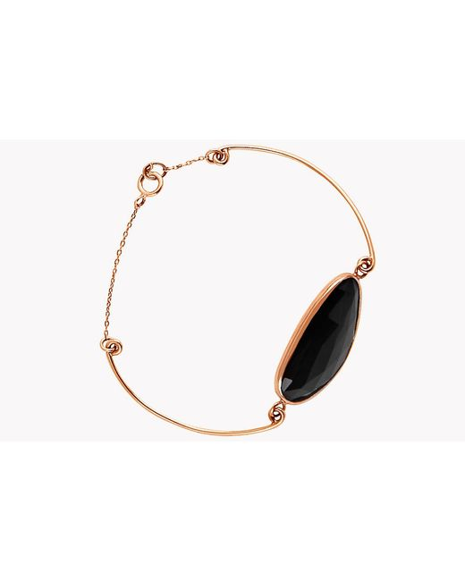 Tateossian - 14k Rose Gold Midnight Pebble Black Spinel Bracelet for Men - Lyst
