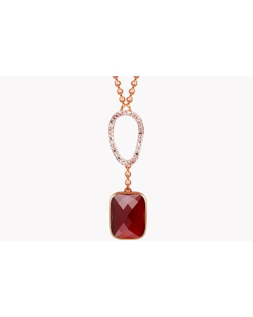 Tateossian Red 14k Rose Gold Chelsea Necklace With Garnet & White Diamonds for men