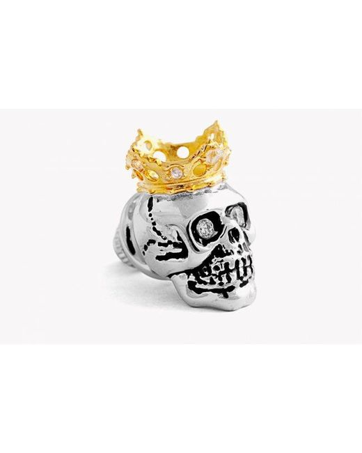 Tateossian | Multicolor King Skull Pin In Silver With 18k Gold Plating | Lyst
