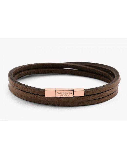Tateossian | Fettuccine 18k Rose Gold Bracelet In Brown for Men | Lyst