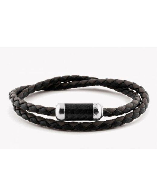 Tateossian | Montecarlo Bracelet In Black Leather With Silver And Enamel Clasp for Men | Lyst