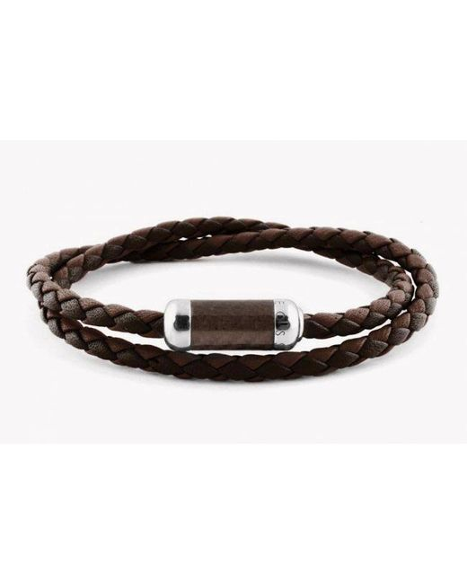 Tateossian | Montecarlo Bracelet In Brown Leather With Silver And Enamel Clasp for Men | Lyst