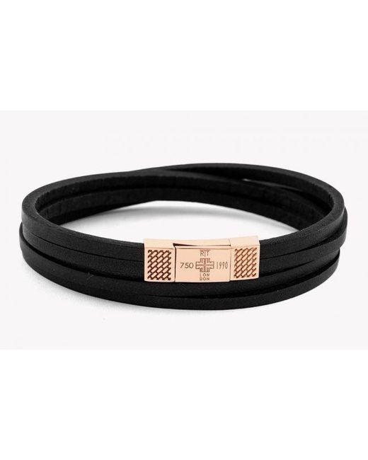 Tateossian | Fettuccine Duo 18k Rose Gold Bracelet In Black for Men | Lyst
