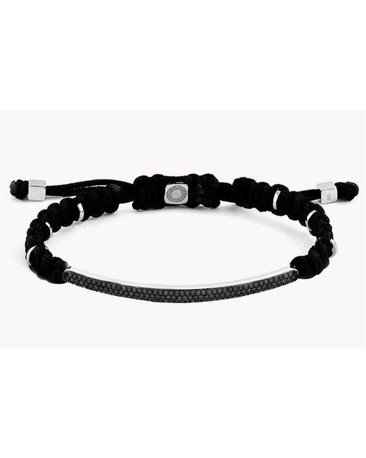 Tateossian - Macramé Windsor Silver Bracelet With Black Diamonds (1.29ct) for Men - Lyst