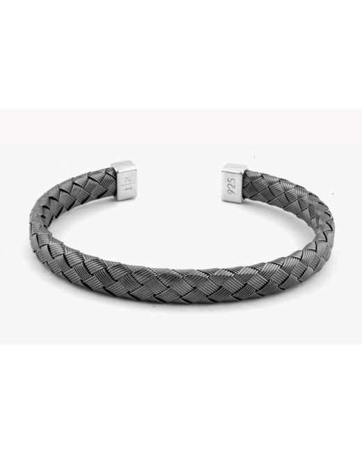 Tateossian - Black Bamboo Silver Bangle for Men - Lyst