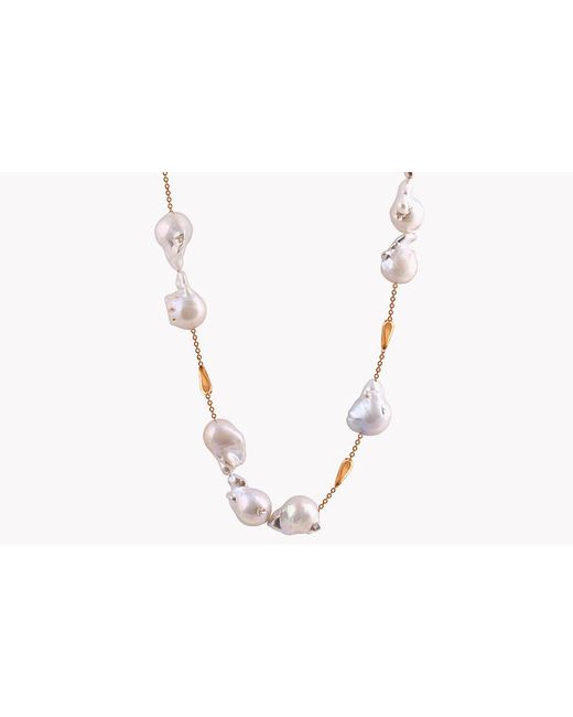Tateossian - Metallic 18k Rose Gold South Sea Baroque Pearl Drop Necklace With 12 Pearls - Lyst