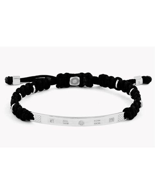 Tateossian - Black Macramé Id Silver Bracelet for Men - Lyst