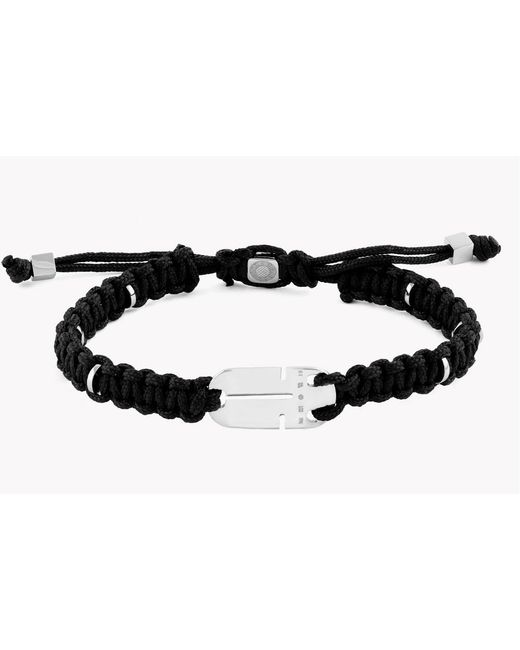 Tateossian - Silver Id Cut Out Black Bracelet for Men - Lyst