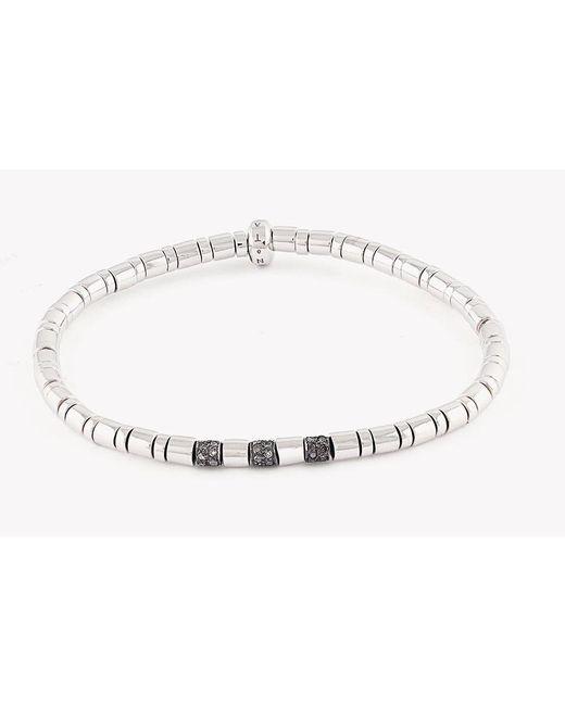 Tateossian   Metallic Bamboo Silver Bracelet With Brown Diamonds for Men   Lyst