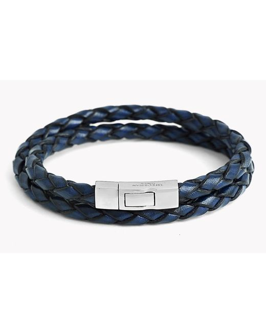 Tateossian | Blue Double Wrap Scoubidou Leather Bracelet for Men | Lyst