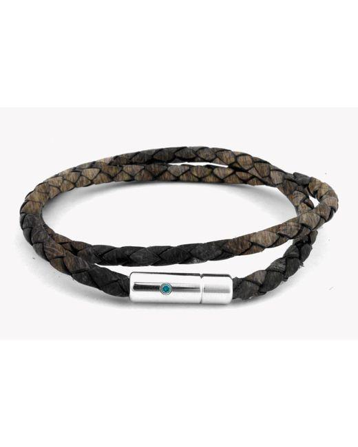 Tateossian - Pop Print Scoubidou Silver Bracelet In Brown for Men - Lyst