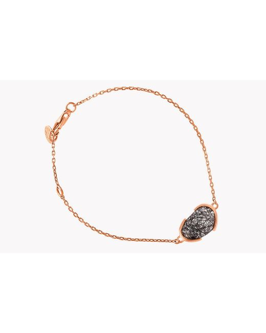 Tateossian - Metallic 18k Rose Gold Mayfair Single Stone Bracelet With Black Rutilated Quartz - Lyst