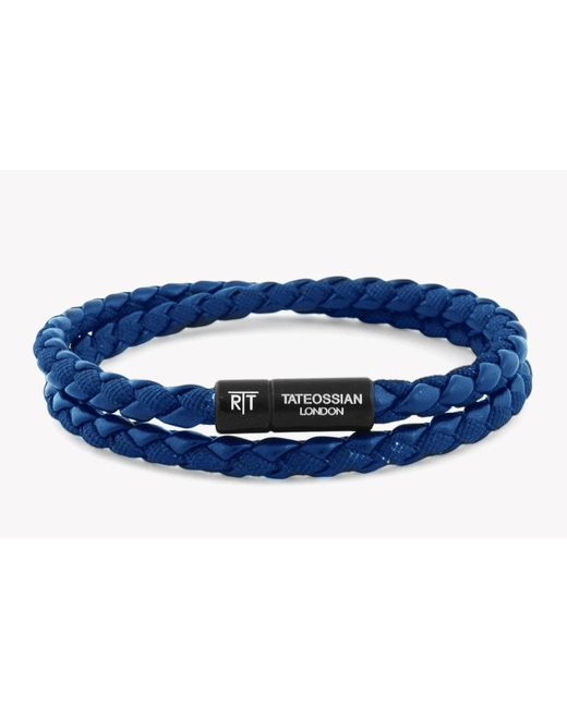 Tateossian - Chelsea Bracelet In Blue Eco-leather With Black Aluminium Clasp for Men - Lyst