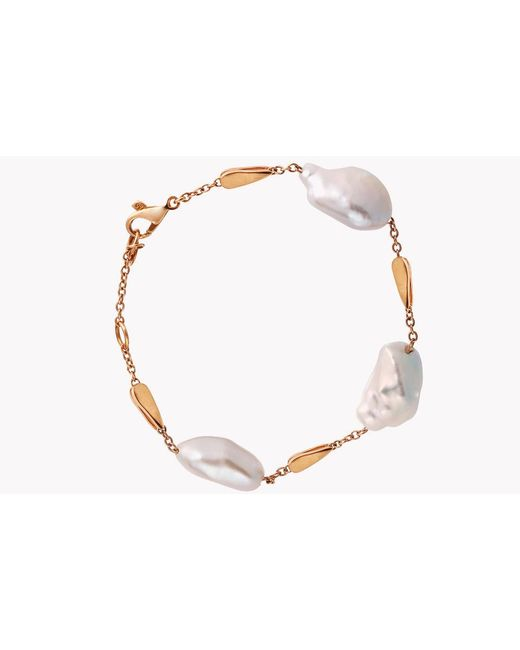 Tateossian - Metallic 18k Rose Gold South Sea Baroque Pearl Drop Bracelet With 3 Pearls for Men - Lyst