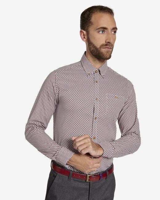 Ted Baker | Red Tight Lines Flower Print Shirt for Men | Lyst