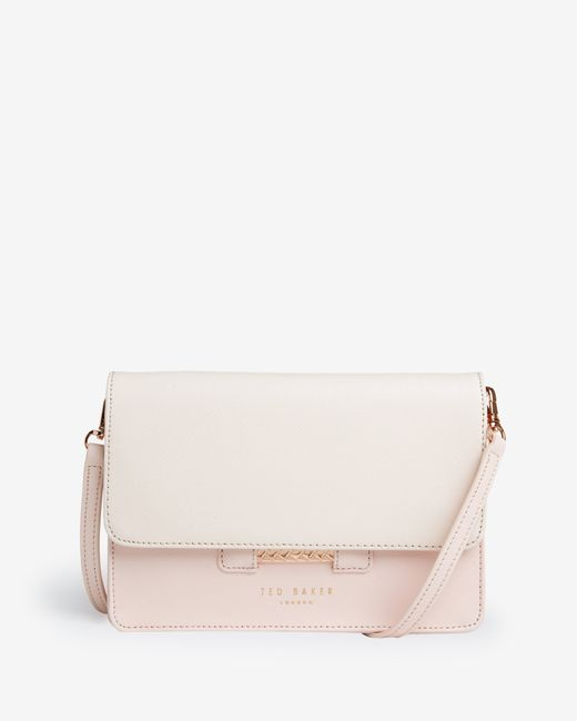 Ted Baker | Pink Crosshatch Leather Cross Body Bag | Lyst
