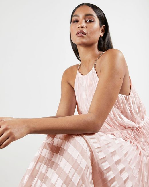 Ted Baker Pink Pleated Maxi Dress