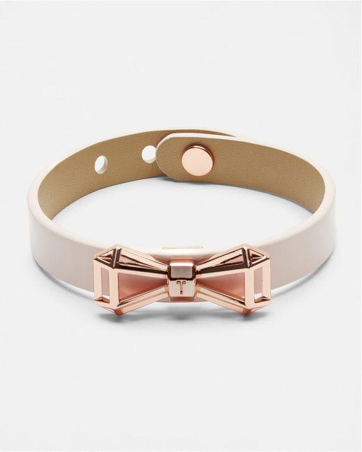 Ted Baker | Blue Geometric Bow Leather Bracelet | Lyst