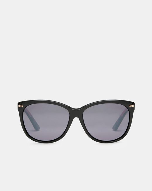 Ted Baker | Black Bow Detail Oval Sunglasses | Lyst