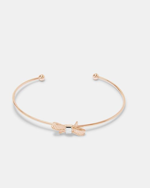 Ted Baker - Metallic Mini Ribbon Bow Cuff - Lyst