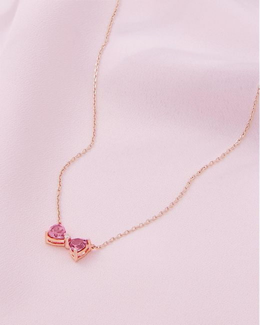 Ted Baker - 9ct Rose Gold, Pink Tourmaline And Diamond Bow Necklace - Lyst