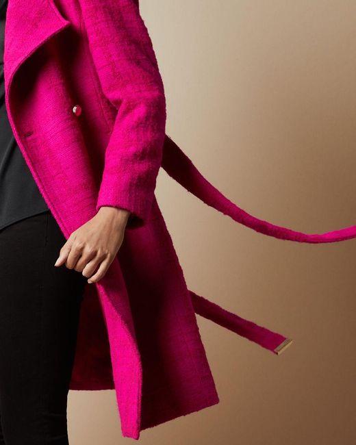 Manteau Croisé En Laine Ted Baker en coloris Pink